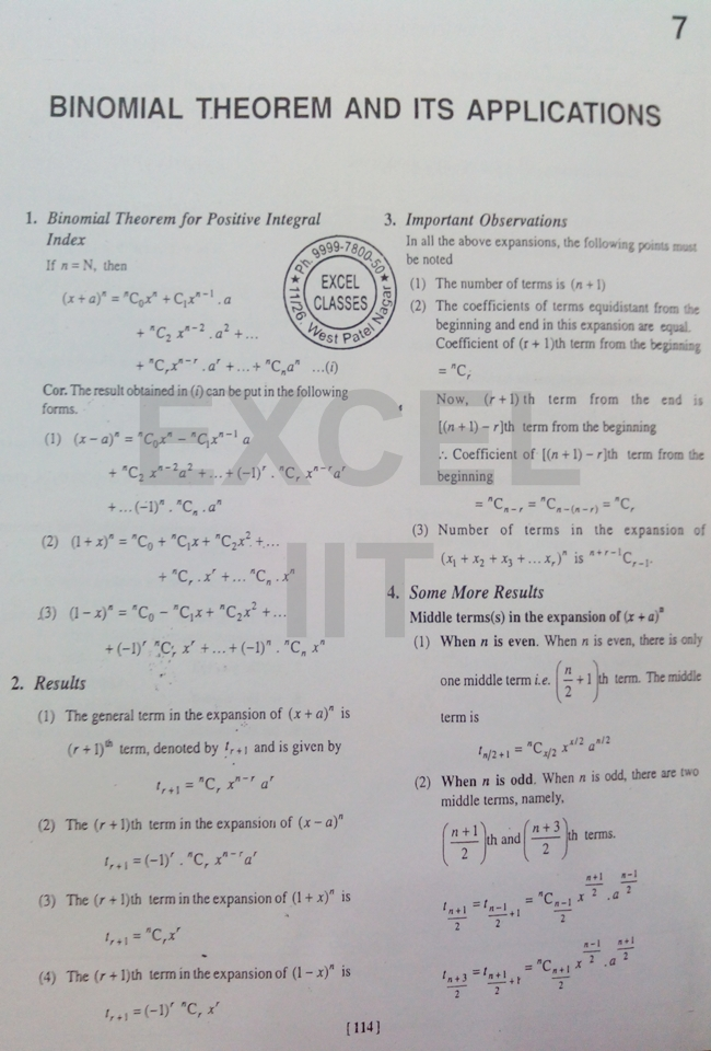 IIT JEE Maths: Binomial Theorem - Special Study Material by Excel